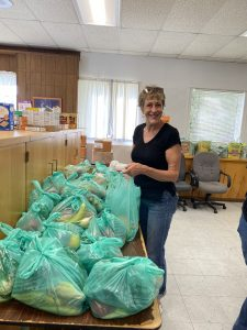 Margaret helping out at the food pantry